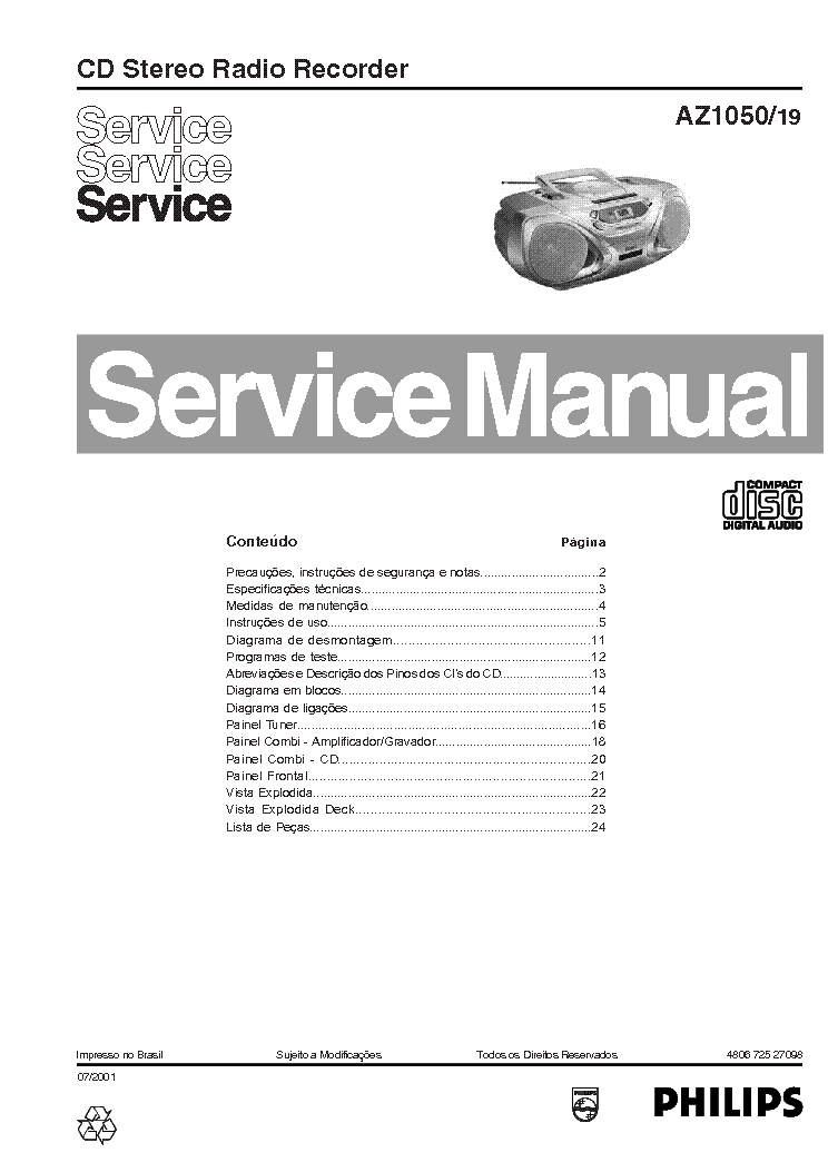 philips cd 614 service manual