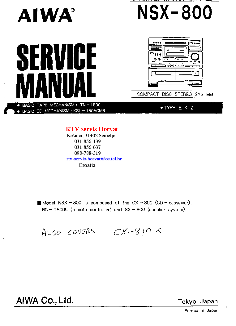 aiwa nsx sz20 user manual
