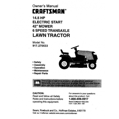 owners manual for craftsman 42 riding mower