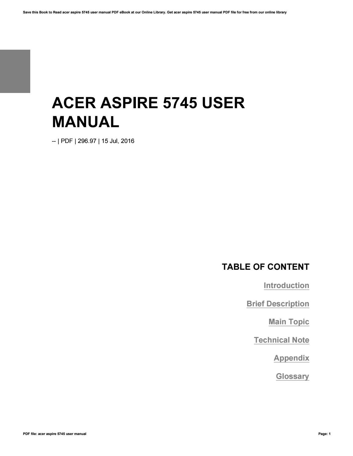 acer aspire 3 user manual