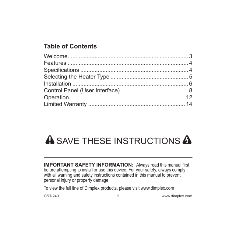 dimplex pw4 thermostat user manual