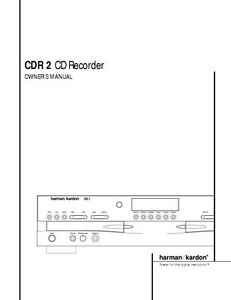 harman kardon cdr 2 manual